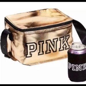 Pink Victoria Secret cooler lunch bad with koozie